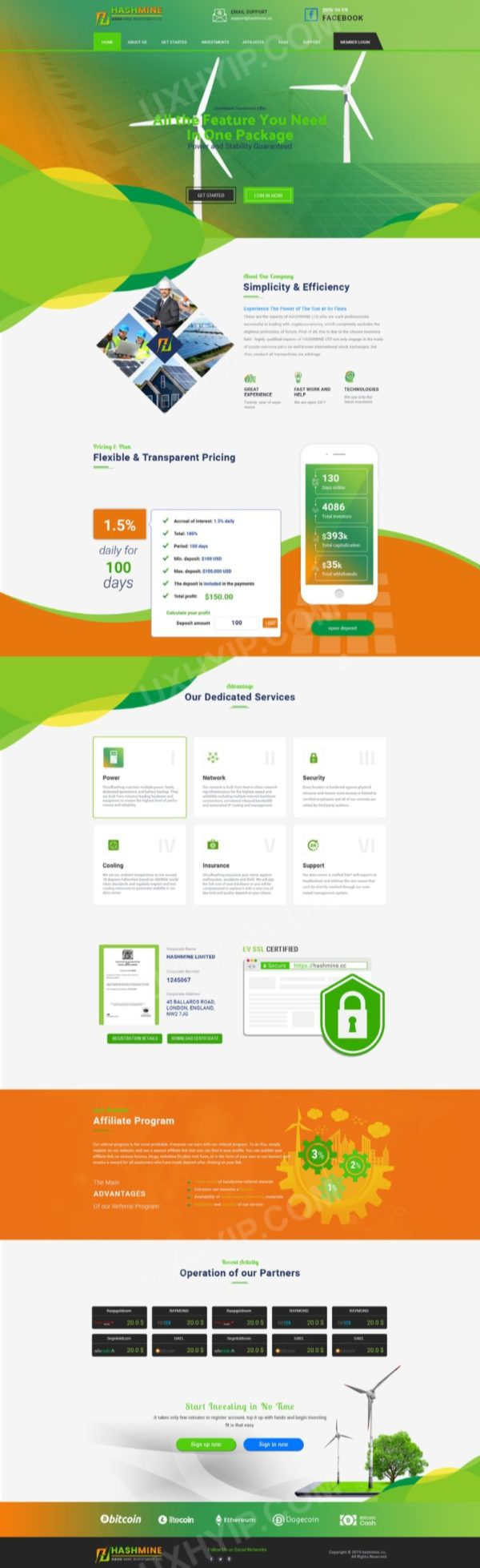 HYIP Template - Investment Business Template HashMine ID 106