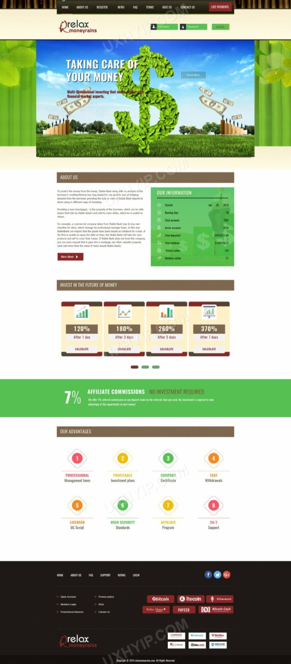 HYIP Template - Investment Business Template RelaxMoneyRains ID 107