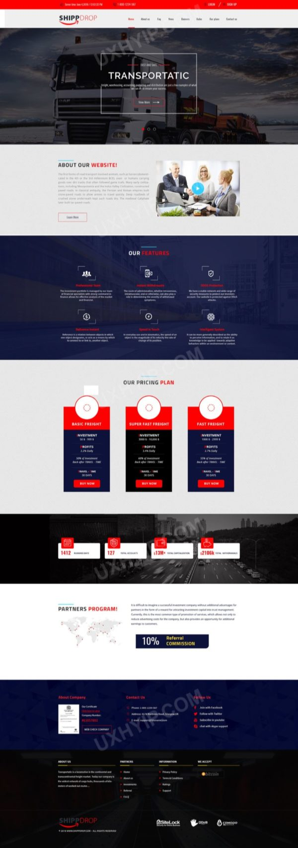 HYIP Template - Investment Business Template ShippDrop ID 110