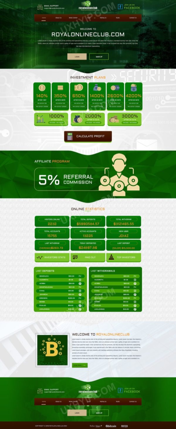 HYIP Template - Investment Business Template RoyalOnlineClub ID 111