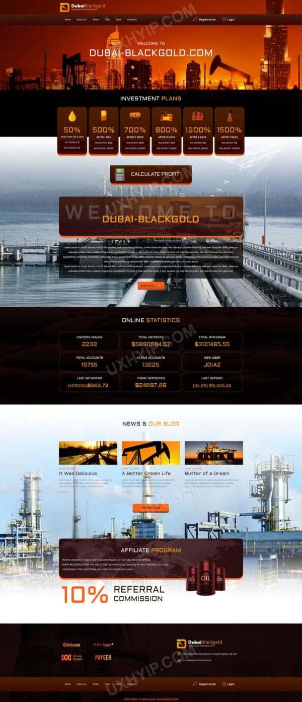 HYIP Template - Investment Business Template DubaiBlackGold ID 114