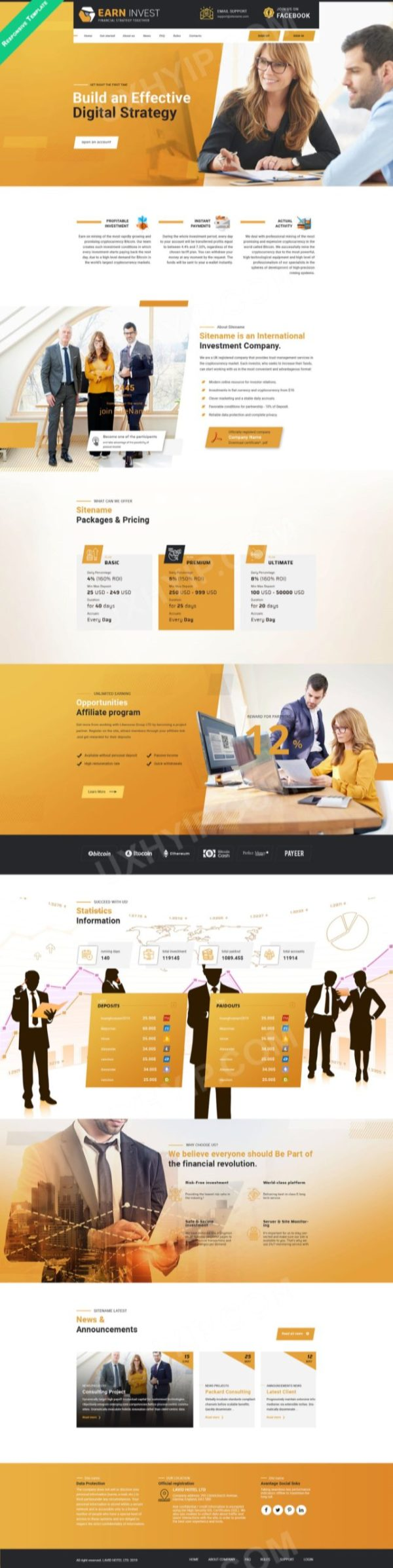 HYIP Template - Investment Business Template ErnInvest ID 121