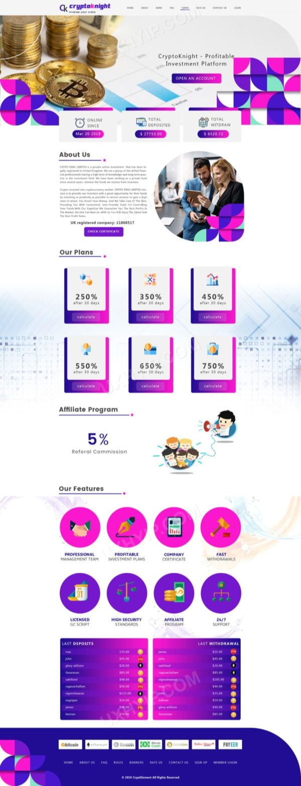 HYIP Template - Investment Business Template CryptoKnightID 124
