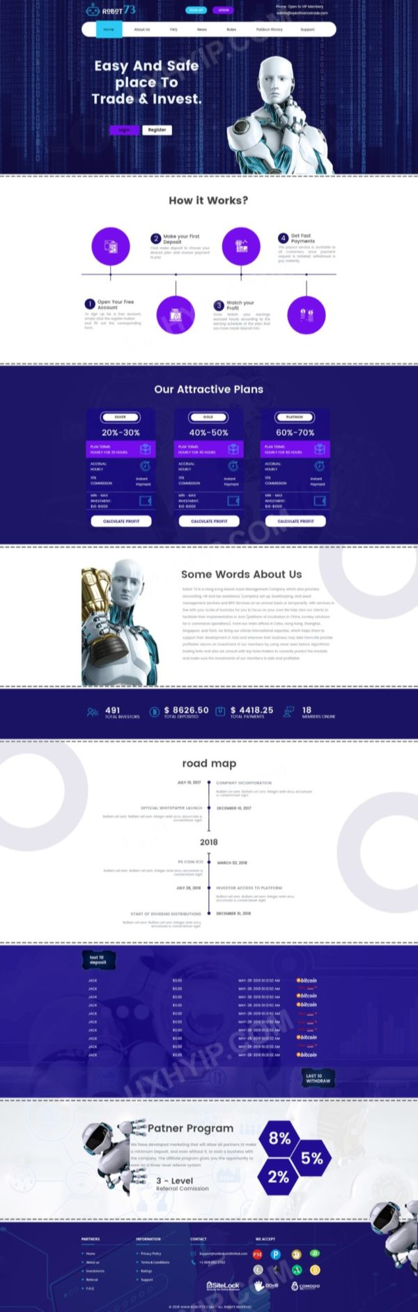 HYIP Template - Investment Business Template Robot73 125