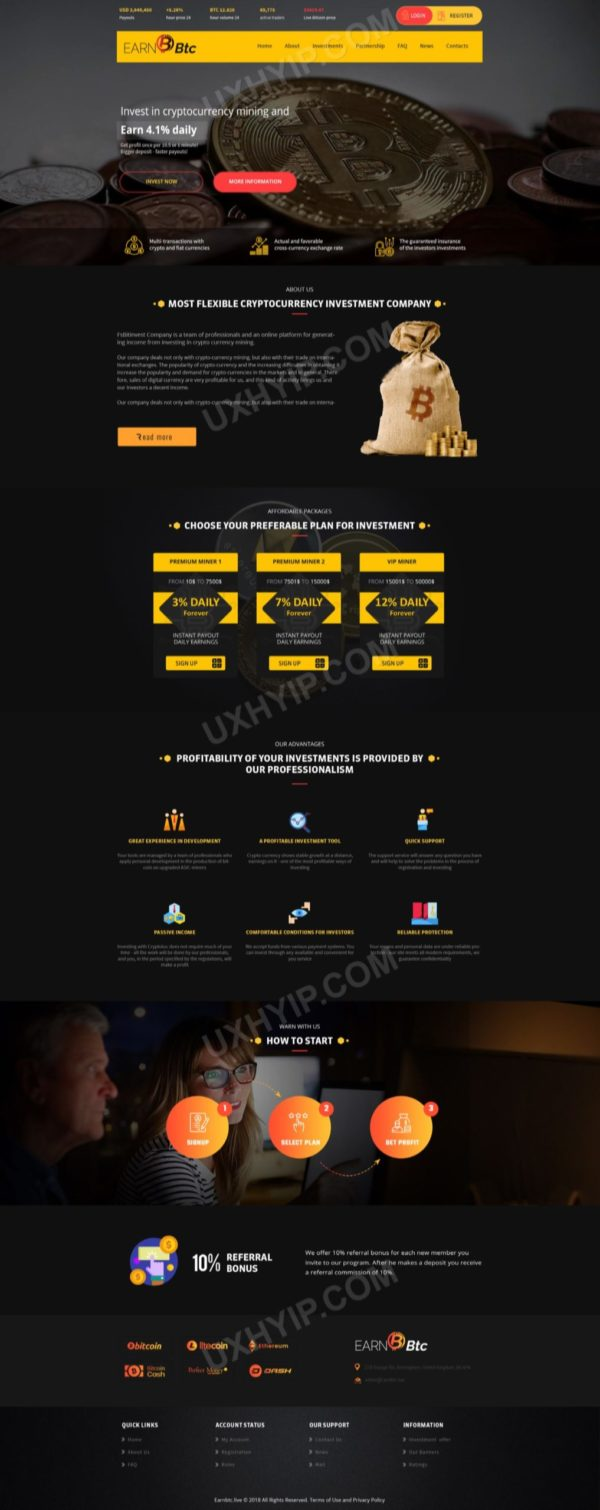 HYIP Template - Investment Business Template EarnBtc 127