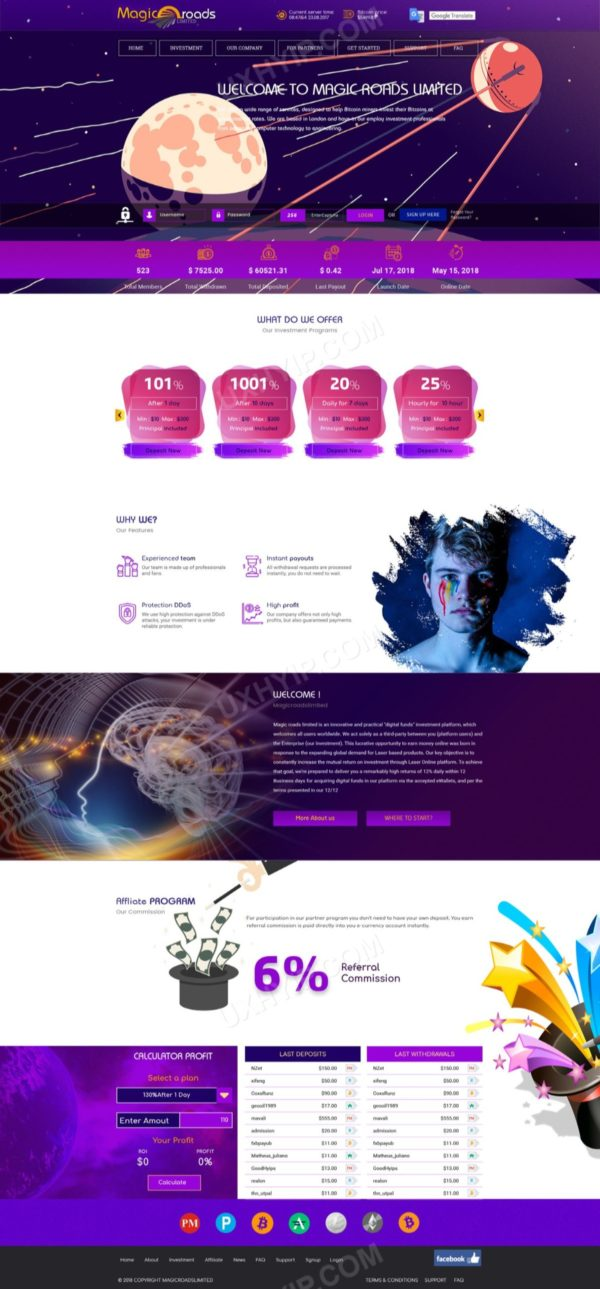HYIP Template - Investment Business Template MagicRoads 128
