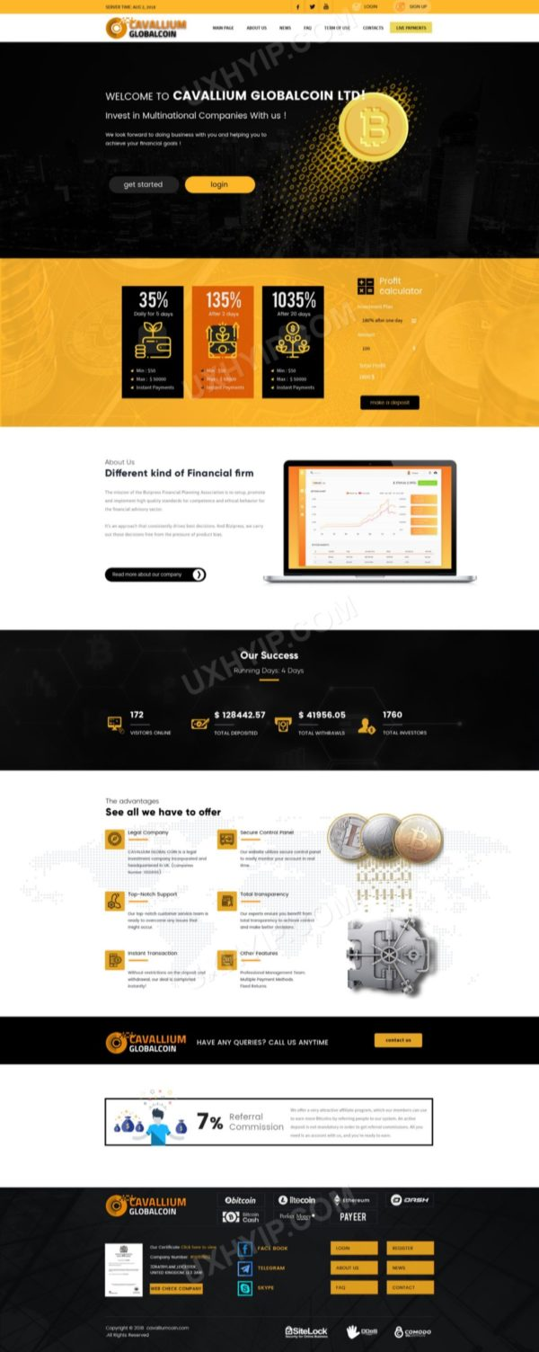 HYIP Template - Investment Business Template GlobalCoin 130