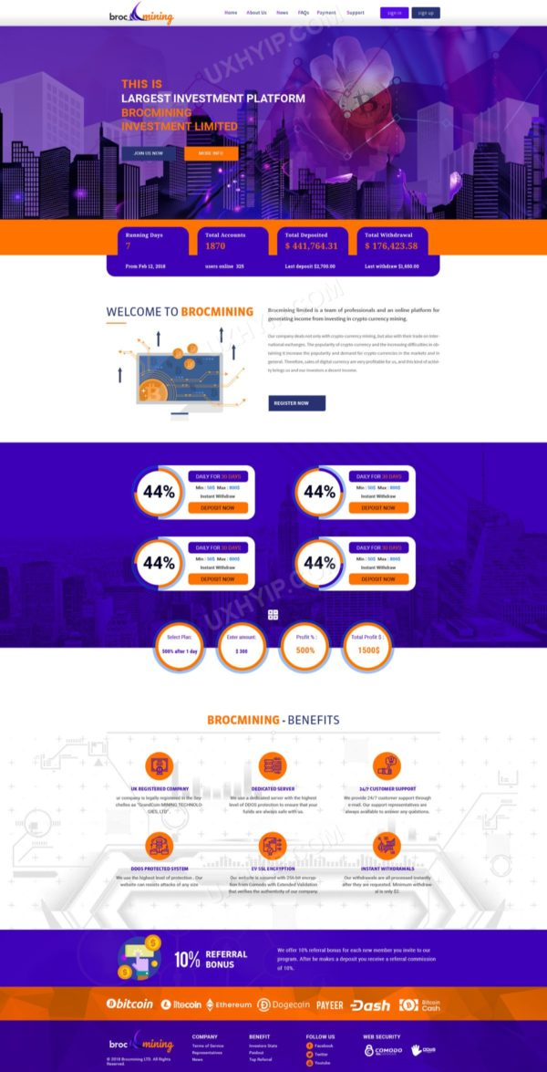 HYIP Template - Investment Business Template BrocMining ID 131