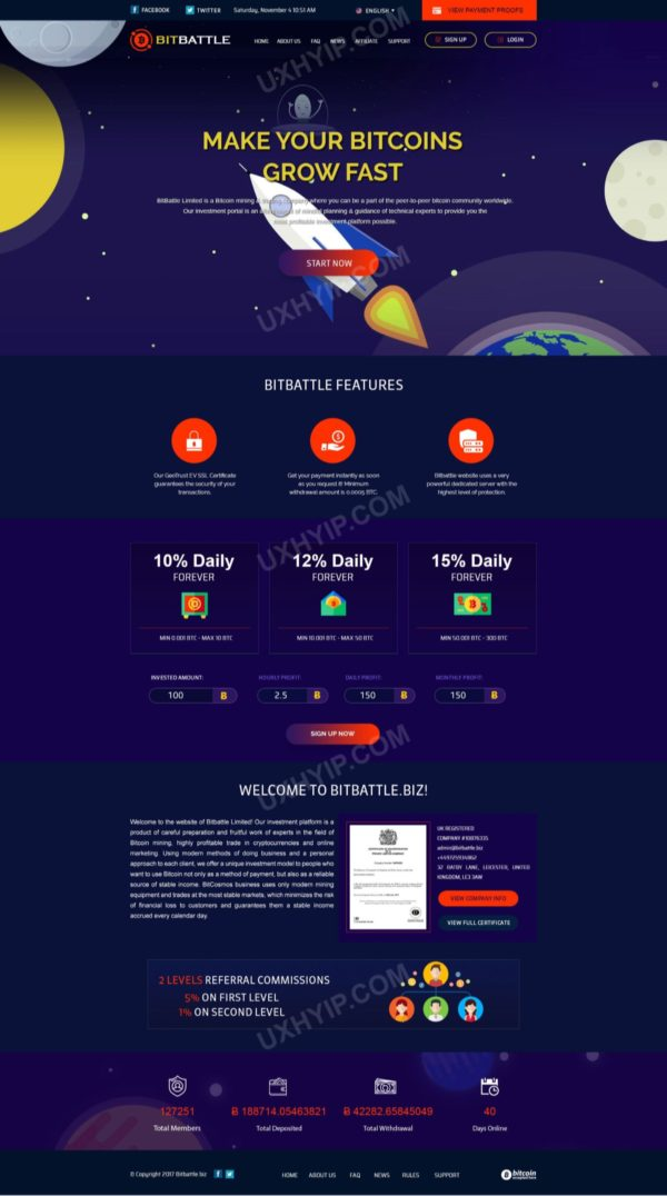 HYIP Template - Investment Business Template BitBattle ID 133