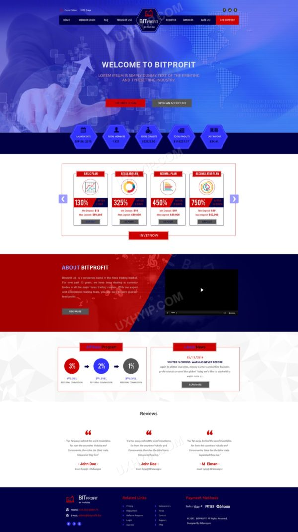 HYIP Template - Investment Business Template BitProfit ID 138