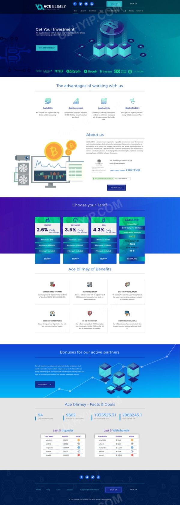 HYIP Template - Investment Business Template AceBlimey ID 139