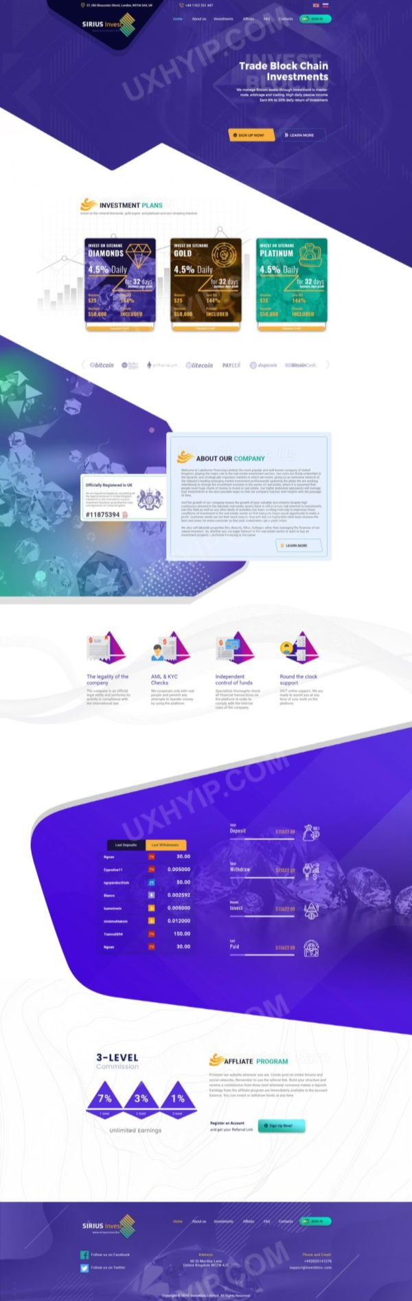 HYIP Template - Investment Business Template SiriusInvest ID 151