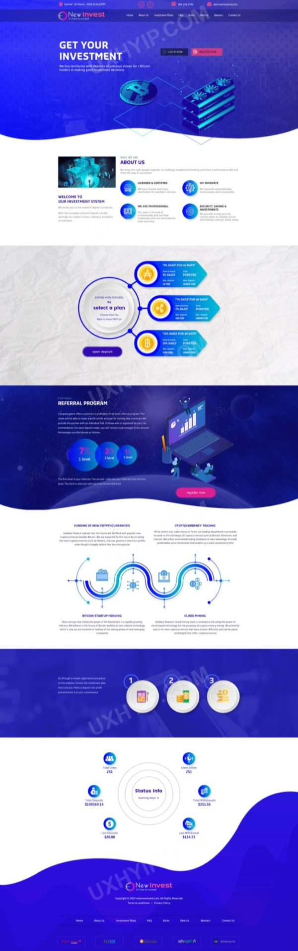 HYIP Template - Investment Business Template NewInvest ID 152