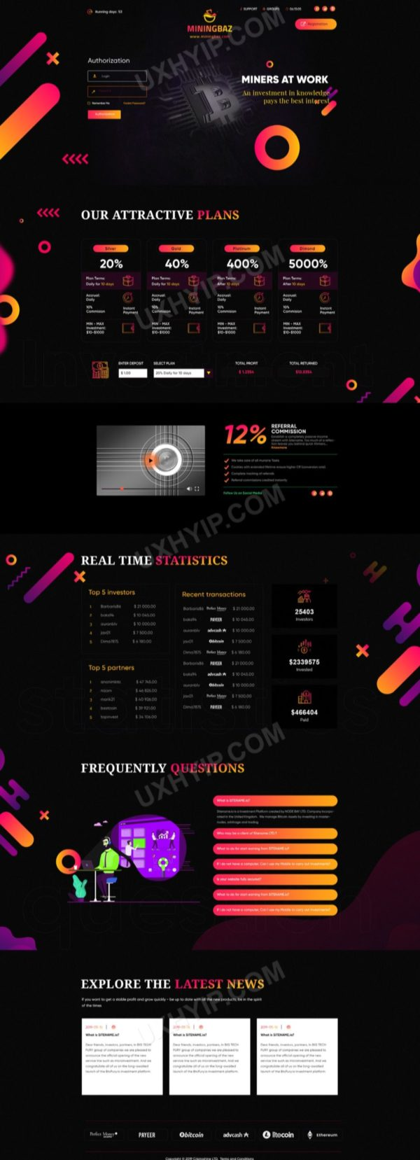 HYIP Template - Investment Business Template MiningBaz ID 154